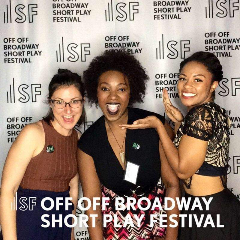 Photo of Alayna Jacqueline, Mallory Metoxen, and Jennifer Young in front of Samuel French Off Off Broadway backgroun